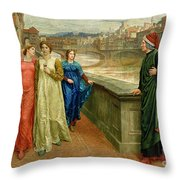 Dante And Beatrice Throw Pillow by Henry Holiday