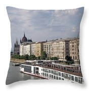 Danube Riverside With Old Buildings Budapest Hungary Throw Pillow