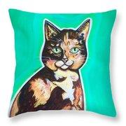 Daphne The Calico Cat Throw Pillow