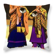Darjeeling, Lama Dance Musicians, India Throw Pillow