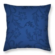 Dark Blue Floral Throw Pillow