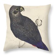 Dark Blue Parrot Throw Pillow