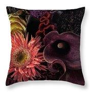 Dark Bouquet Throw Pillow