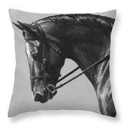 Dark Brown Dressage Horse Black And White Throw Pillow