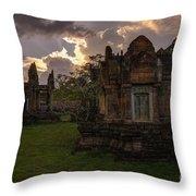 Dark Cambodian Temple Throw Pillow