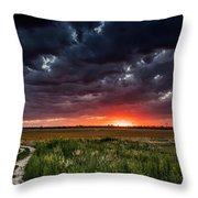 Dark Clouds At Sunset Throw Pillow