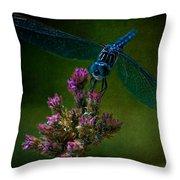 Dark Dragonfly Throw Pillow