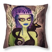 Dark Fairy With Dragon Friend Throw Pillow