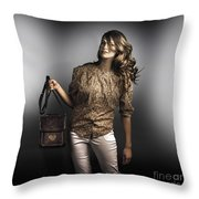 Dark Fashion Style With Fashionable Bag Accessory Throw Pillow