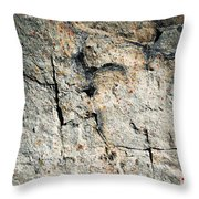 Dark Fissures On Limestone Rock Throw Pillow