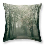 Dark Gloomy Alley In Woods Throw Pillow