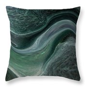 Dark Green Flow Throw Pillow