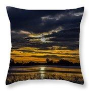 Dark Lake Sunrise Throw Pillow