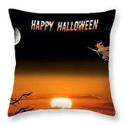 Dark Night Halloween Card Throw Pillow