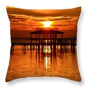 0209 Dark Orange Sunrise On Sound Throw Pillow