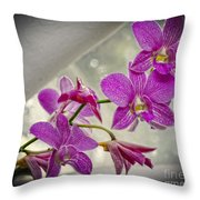 Dark Pink Orchids All In A Row Throw Pillow by Eva Thomas