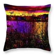Dark Psychedelic Sunset Throw Pillow