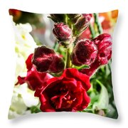 Dark Red Fancy Snapdragon Throw Pillow