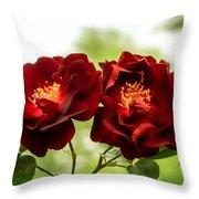 Dark Red Roses Throw Pillow
