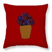 Dark Rose Folk Art Throw Pillow