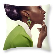 Dark Skinned Woman In Updo With Big Curls Throw Pillow