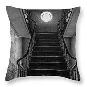 Dark Stairs To Attic - Urban Exploration Throw Pillow