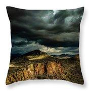 Dark Storm Clouds Over Cliffs Throw Pillow