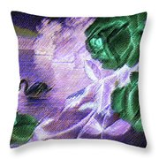 Dark Swan And Roses Throw Pillow by Writermore Arts