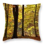 Dark Trunks Bright Leaves Throw Pillow