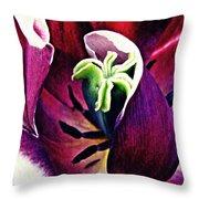 Dark Tulip Macro Throw Pillow