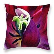 Dark Tulip Macro Square Format Throw Pillow
