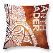 Darth Vader - Star Wars Art - Brown And White Throw Pillow