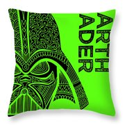 Darth Vader - Star Wars Art - Green Throw Pillow