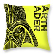 Darth Vader - Star Wars Art - Yellow Throw Pillow