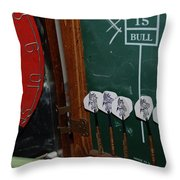 Darts And Board Throw Pillow