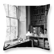 Darwins Study And Microscope, Down House Throw Pillow