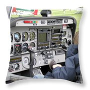 Dashboard Of A Robin Dr400 President Throw Pillow