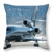 Dassault Falcon 900 Parking With Marshaller Throw Pillow