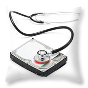 Data Recovery Stethoscope And Hard Drive Disc Throw Pillow