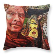 Dave Alber Self-portrait At Swayambunath, Kathmandu, Nepal Throw Pillow