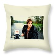Dave And His Boat Throw Pillow