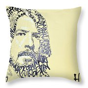 Dave Grohl Word Portrait With The Word Kurt Cobain Throw Pillow