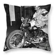 Dave On A Harley Tulare Raiders Mc Hollister Calif. July 4 1947 Throw Pillow