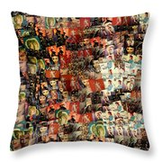 David Bowie Collage Mosaic Throw Pillow