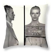 David Bowie Mugshot 1976 Throw Pillow