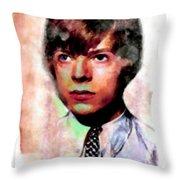David Bowie Teenager Aquarelle  Throw Pillow