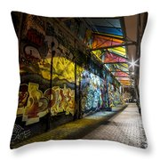 David Bowie Tribute Central Square Cambridge Graffiti Down The Tunnel Throw Pillow