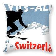 Davos, Alps, Mountains, Switzerland, Winter, Ski, Sport Throw Pillow