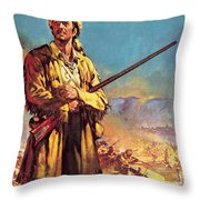Davy Crockett  Hero Of The Alamo Throw Pillow