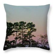 Dawn And Moon Setting - Virginia Throw Pillow